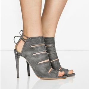 Aquazzura Sloand Suede Gray Stappy Cutout Sandle